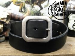 アメリカ製ハーマンオークレザーベルト【ブラック】38mm/選べるバックル付ベルトお買い得セット