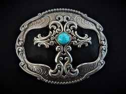IVAN TROPHY BUCKLE Black Leather Inlay Cross