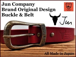 JUN COMPANYオリジナルデザインバックル 太ピン帆型バックル付き栃木レザーベルト オイル多脂革 【レッド】40mm