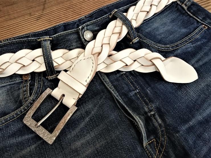 【数量限定販売】 栃木レザー本革メッシュベルト 【ホワイト】35mm 革を感じるメッシュベルト 【受注製作商品】
