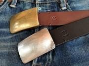 栃木レザーベルト オイル多脂革 38mm 真鍮スクエアトップバックル 糸縫い仕上げベルト 【バックル&革カラーが選べます】