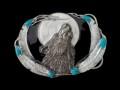 バックル ネイティブ  SKL7E  Wolf Framed by Feathers