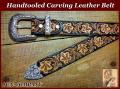 【完成品】栃木レザー手彫りカービングウエスタンベルト38mm リーフ柄 【タン&ブラック仕上げ】タンディ3ピースバックル付