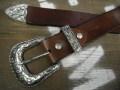 栃木レザー3ピースバックルベルト38mm【Tandy Leather WESTEN BUCKLE 3P SET】アンティークシルバーカラー