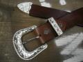 栃木レザー3ピースバックルベルト38mm【Tandy Leather WESTEN BUCKLE 3P SET】シルバーカラー