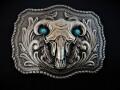 IVAN TROPHY BUCKLE Turquoise Bull Skull