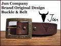 JUN COMPANYオリジナルデザインバックル付き栃木レザーベルト オイル多脂革 【チョコレートブラウン】40mm