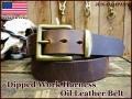 【極厚革6-6.5mm厚】 希少品 ウィケット&クレイグ アメリカンハーネスオイルレザーベルト  【ダークブラウン】38mm/手縫い仕上げ真鍮バックル&ループ付