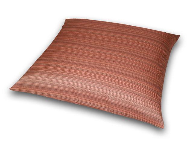 座布団カバー 彩り縞紋 赤茶