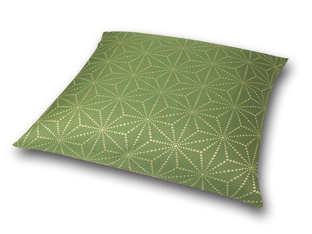 座布団カバー 彩り麻の葉 緑