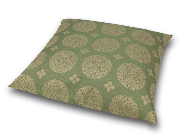 座布団カバー 彩り花紋 緑