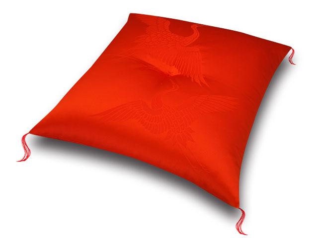 祝寿座布団 鶴寿赤赤 十人色彩