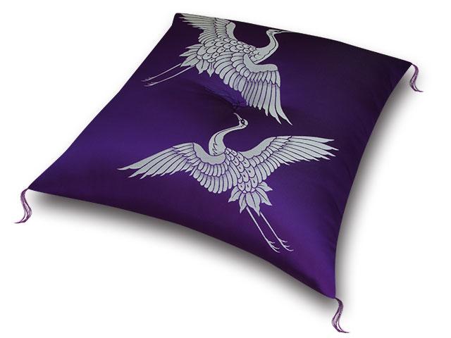 祝寿座布団 鶴寿紫白 十人色彩
