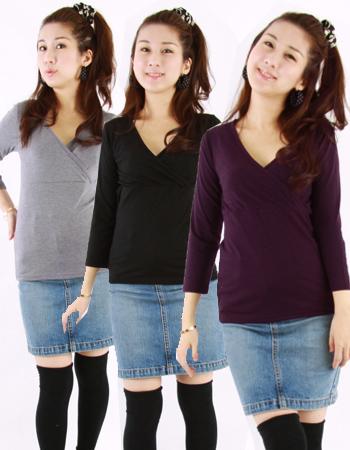 【授乳服・インナー】キューティ☆ママシャツ(カシュクール)◇お得なまとめ割(※セール期間は3枚以上から適用)◇2枚までネコポス可♪