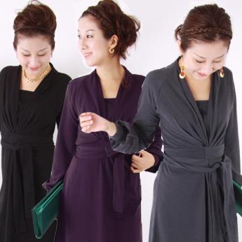 <授乳服・マタニティ>クラシック☆ロープドレス(あて布有)~フォーマル、お宮参り、冠婚葬祭に~