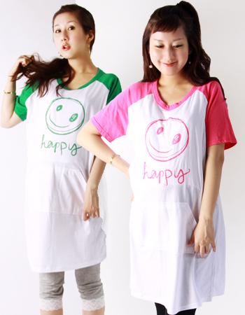 【在庫限りSALE】ハッピー☆スマイルT(サイドスリット)<授乳服・マタニティ>♪1枚までネコポス可♪
