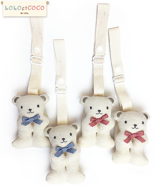 【ベビー】日本製◆ LOLO et COCO ロコココ クマの便利クリップ (各2個組) オーガニックコットン100% 出産祝い ギフト プレゼント