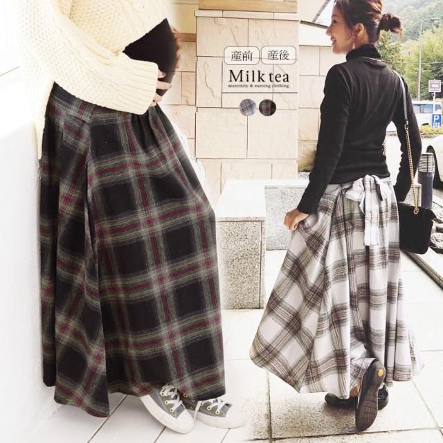 <マタニティスカート>フランネルチェック・リボンフレアースカート(産前産後兼用)