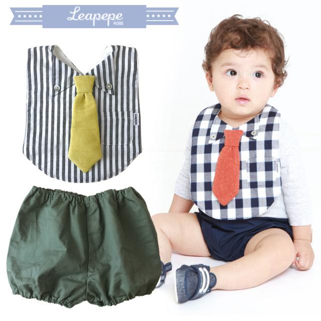 【ベビー】レアペペ〈DRESS UP TIE〉おめかしエプロンとパンツのセット 男の子/ベビー 赤ちゃん スタイ エプロン&ブルマSET leapepe おめかしセット エプロン よだけ
