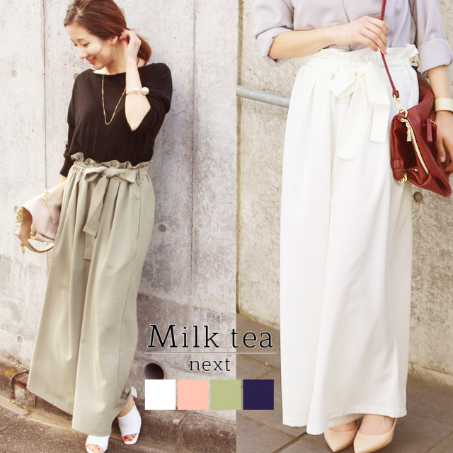 <Milk tea next>リボン・ビューティスカーチョ(スカンツ、ガウチョ)【B】