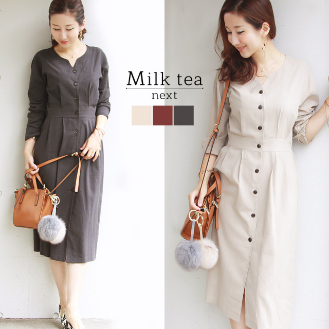 <Milk tea next>ティファニー・レディワンピース(2017秋新作!お洗濯OK)