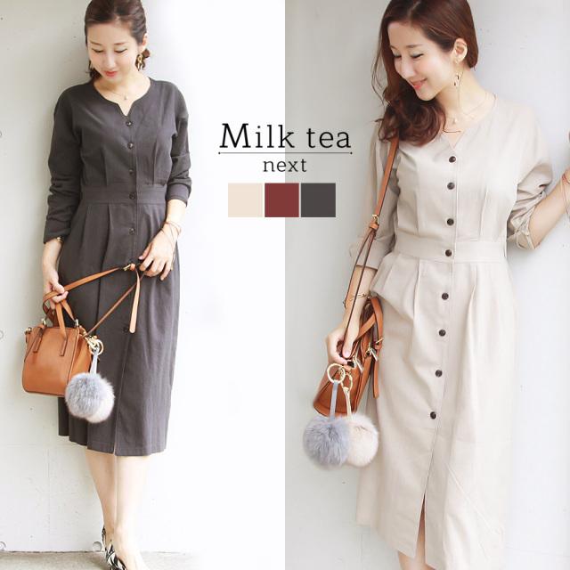 <Milk tea next>ティファニー・レディワンピース(お洗濯OK)