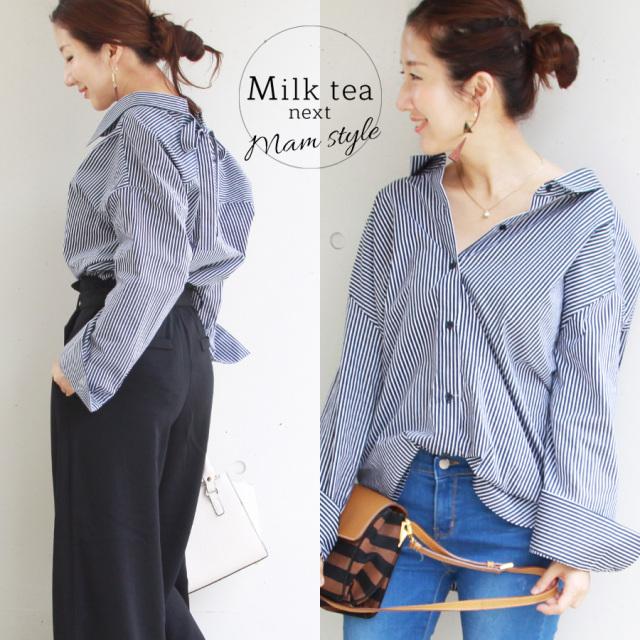 <Milk tea next>バックリボン・ストライプビッグシャツ(落ち感綺麗なビッグシルエット)