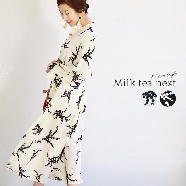 <Milk tea next>フローラ・ロングワンピース(ワンピース 長袖 総柄 プリント ロング丈 マキシ丈 長袖 新作 春)