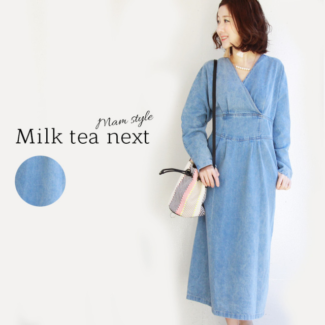 <Milk tea next>デニムパフィーワンピ(メリハリある美しいシルエット、ウエストゴム、Vネック)