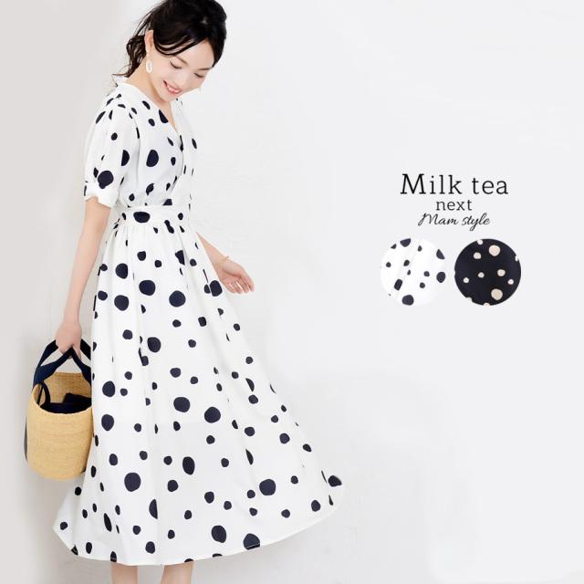 <Milk tea next>パフスリーブドットワンピース