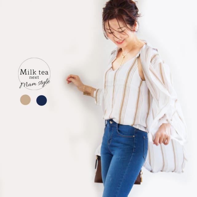 <Milk tea next>ワイドストライプ・キャミ&シャツセットアップ(2枚セット)