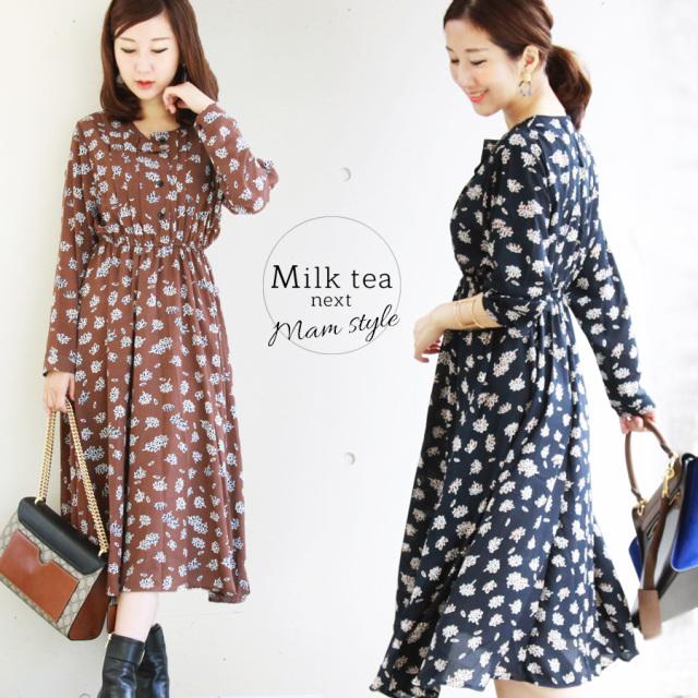 <Milk tea next>コスモス・シフォンワンピース