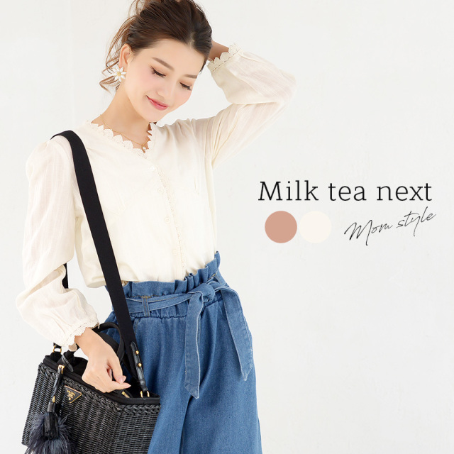 <Milk tea next(ミルクティーネクスト)>シャロン・アンティークレースブラウス