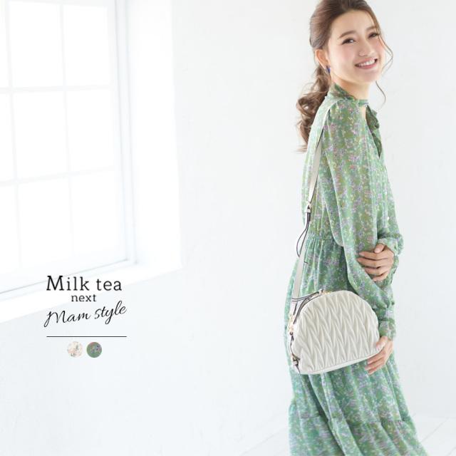 <Milk tea next>フローラ・パールボタンシフォンワンピース