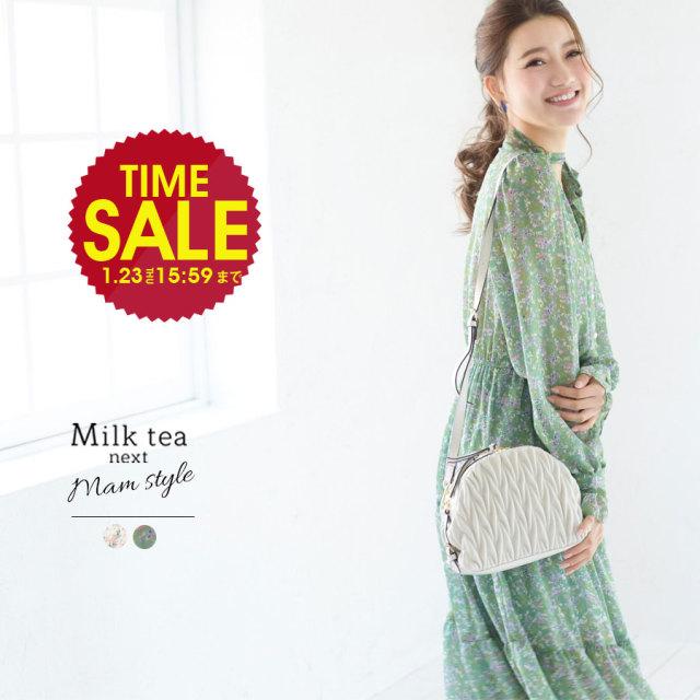 SALE <Milk tea next>フローラ・パールボタンシフォンワンピース