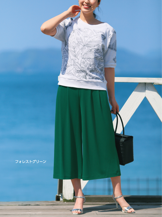【P2<ピーツー>】デザインタックガウチョパンツ【日本製】