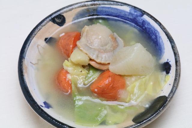 【天然出汁の旨味】帆立と根菜の塩糀スープ煮