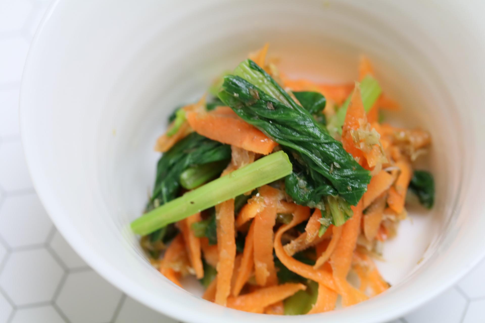 【野菜の旨み】小松菜と人参のいわし節和え