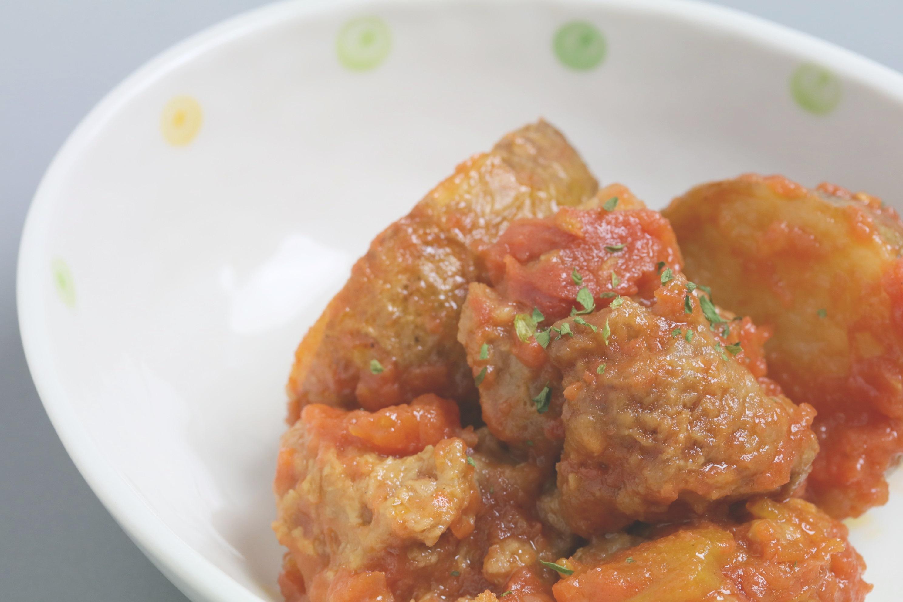 【ちびっこにも人気】大豆ミートと揚げじゃがいもの有機トマト煮