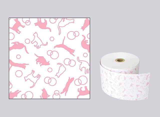ファンシーレジ用紙 ねこ ピンク (58mm) 8巻入