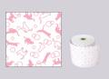 【生産終了】ファンシーレジ用紙 ねこ ピンク (80mm) 3巻入