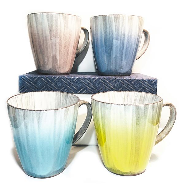 九谷焼 釉彩マグカップ (ピンク/青/水色/黄色)