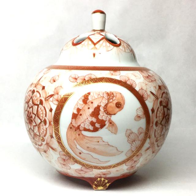赤絵金魚香炉