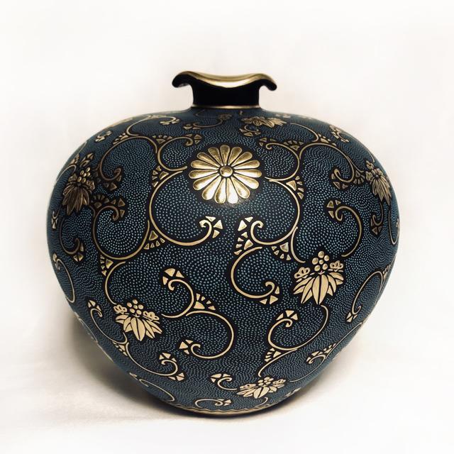 青粒菊紋松竹梅5号花瓶