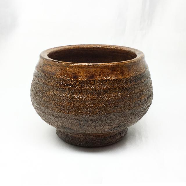 泉喜仙 大樋焼ミニ盆栽鉢 飴釉 丸