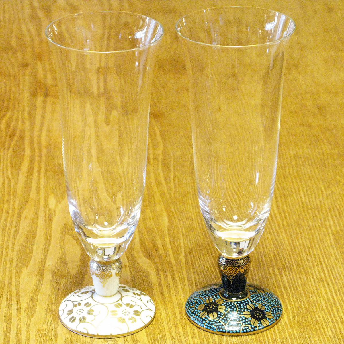鉄仙唐草 麦酒グラス 九谷和グラス