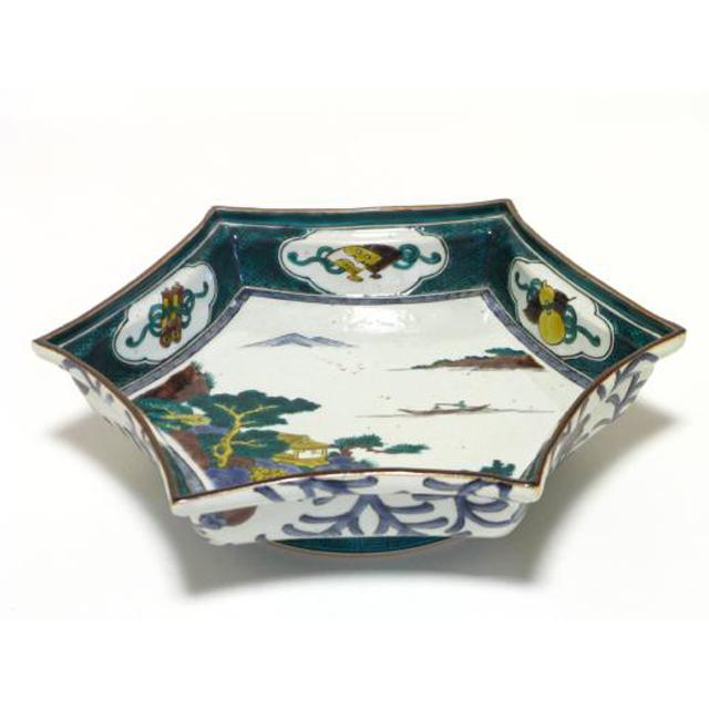 三ツ井為吉 山水六角鉢