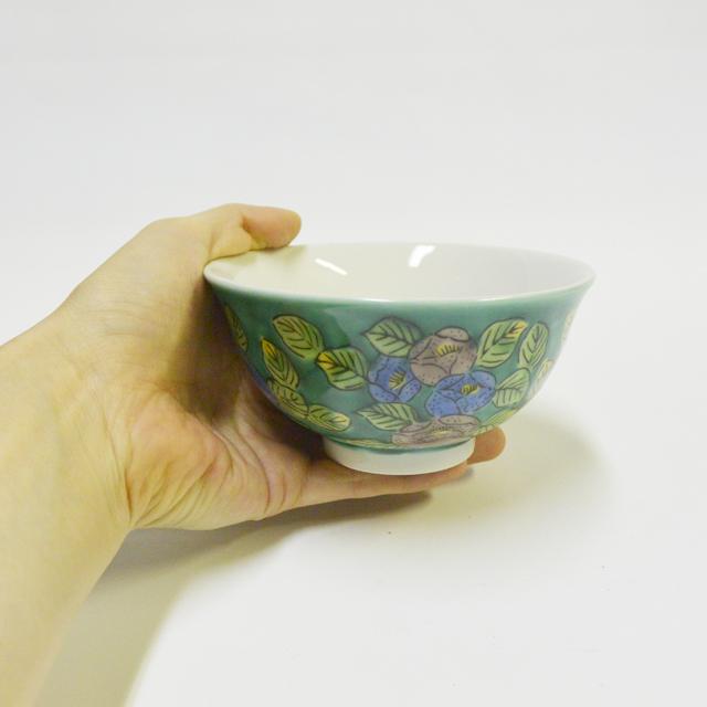 グリーン椿 ご飯茶碗