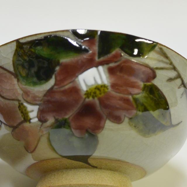 コンビ山茶花(赤) ご飯茶碗