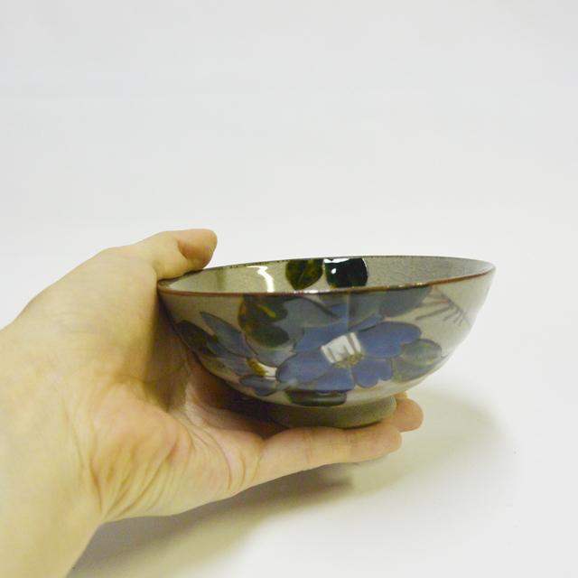 コンビ山茶花(青) ご飯茶碗